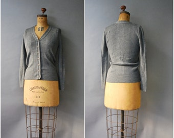 1970's Grey Cardigan//Slate Grey Sweater//70's Grey Cardigan