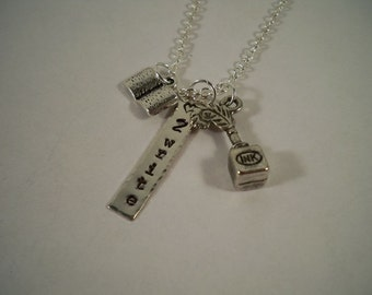 Writer/Writing Hand Stamped Silver and Pewter Charm Necklace
