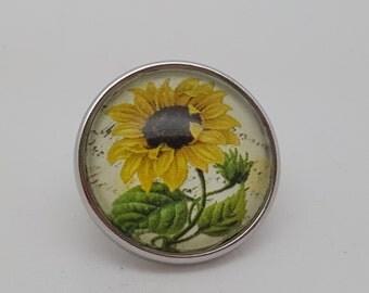 Glass Popper Charm Sunflower Snap Jewelry Charms
