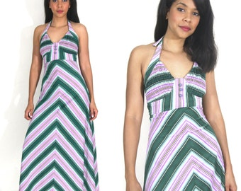 Vintage 70s Chevron Stripe Green Purple Halter Backless Maxi Dress Hippie Festival
