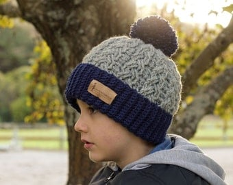 "Crochet Cable Hat Pattern,  Beanie Crochet Pattern, crochet pattern for cabled ""Carter Beanie"" Boys Patterns, PATTERN ONLY"
