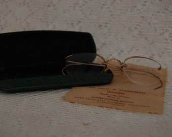1930's Eyeglasses - Wire Rim Eye Glasses - Vintage Case - Antique Round Eye Wear - Spectacles - Shelbyville, Illinois
