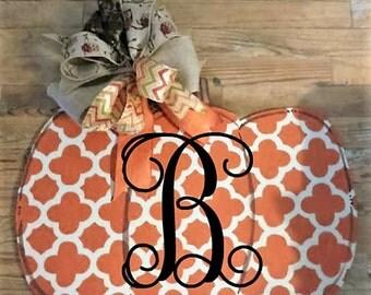 Pumpkin Door Hanger, Fall door hanger, Thanksgiving Door hanger, wreath, monogram, personalized, hand painted door hanger