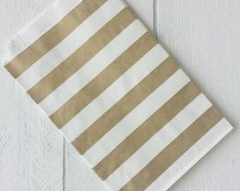"20 Flat Gold Stripe Paper Bags-5""X7.5"""