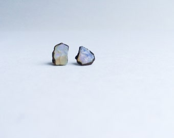 Raw opal earrings | Opal stud earrings | Opal studs | October Birthstone earrings | October Birthstone jewelry | Opal post earrings | Opals