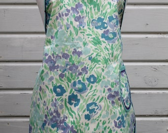 Floral Waverly Print Full Women's Apron in Greens, Blues & Lavenders, One Pocket, Scalloped Hem Line Ladies Kitchen Apron