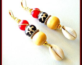 Sea Shell Earrings, Cowrie Shell Earrings, Gypsy Earrings, Bohemian Earrings, African Earrings, Ethnic Earrings, Tribal Earrings