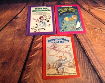 """Set of 3 """"An I Can Read"""" Books - Rollo and Tweedy, Thank You Amelia Bedelia, Billy & the Ghost - 1990s Hardcover Childrens Books"""