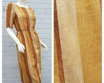 Vintage 1950s 'Besiel' Label Golden Tones Stripe Print Boat Neck Pocket Midi Day Dress Extra Small to Small