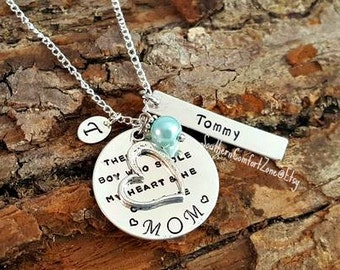 So Theres This Boy Who Stole My Heart and He Calls Me Mom - Mommy Jewelry Necklace Son Baby Hand Stamped Mothers Day Gift For Her Child Kid