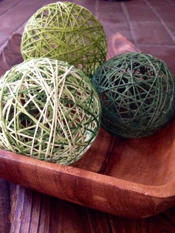 naturally green decorative balls deco balls decorative yarn balls yarn balls - Decorative Orbs