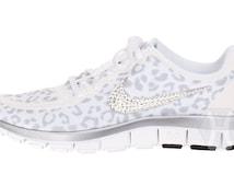 Women's Nike Free 5.0 v4 White Wolf Cheetah / Leopard with Swarovski crystal details