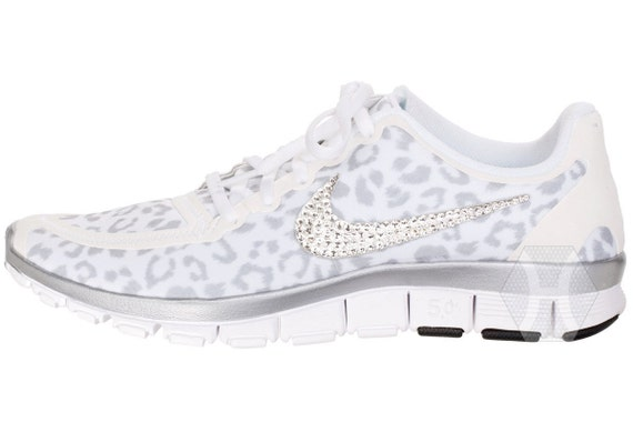 durable service Women s Nike Free 5.0 v4 White Wolf Cheetah by  ShopBlingedOutKicks 40b8822e8