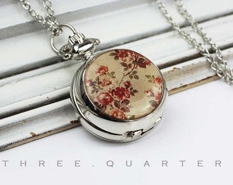 Roses, shabby, pocket watch, chain watch, necklace, silver, flower, vintage, shabby, watch, chain, brown, red, gift, boho, romantic, wedding