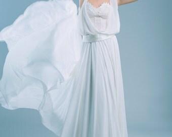 Volante two piece wedding dress lace and chiffon whimsical ethereal elegant design boho beach woodland wedding