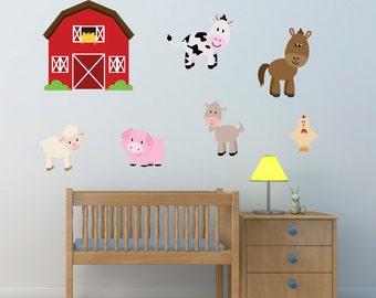 Barn With Farm Animals Wall Stickers, Farmyard Wall Decals, Farm Wall Art, Animal Wall Transfer - Full Colour Wall Stickers - FP046
