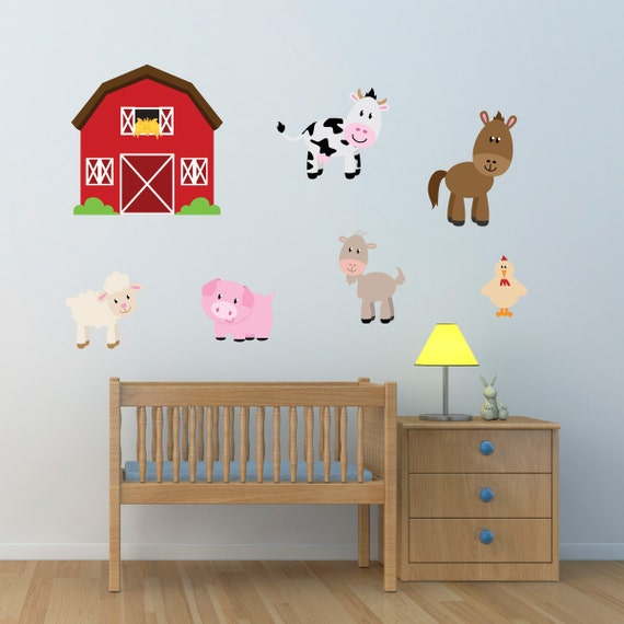Kids Room Wall Decals Farm Wall Decals Farm Animal Decals: Barn With Farm Animals Wall Stickers Farmyard Wall Decals