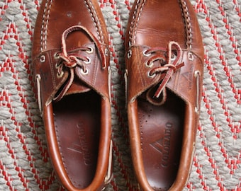 Vintage 1990s Chestnut leather Colorado Loafers Boat Shoes