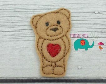 Bear with heart belly set of 4 UNCUT felties clippie bow centers, hair clip, bow, felt embelishment, felt bow, feltie, applique