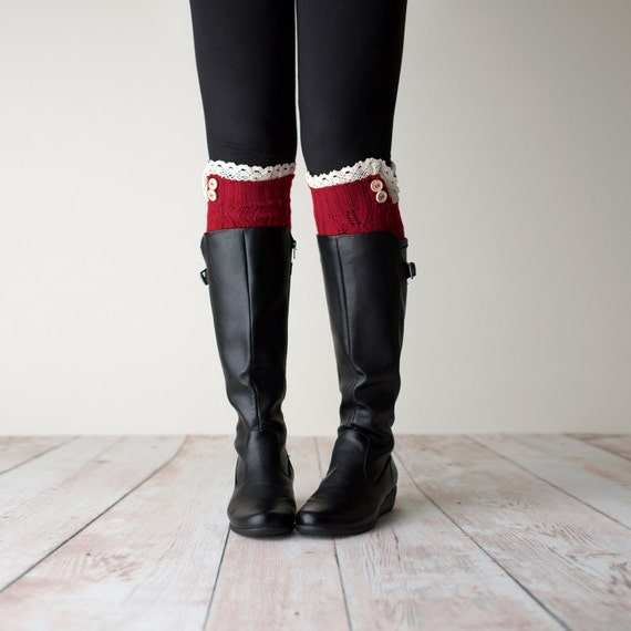 Leg Warmers Red Leg Warmers Red Boot Cuffs Red Knit