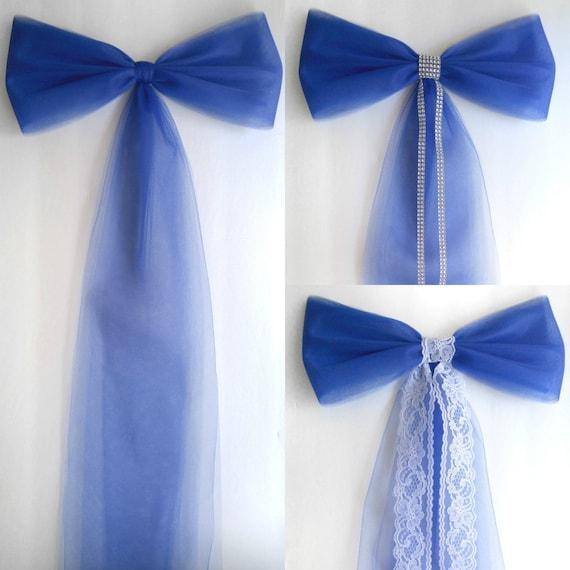 Wedding pew decorations royal blue wedding decorations pew bow by il570xn junglespirit Choice Image