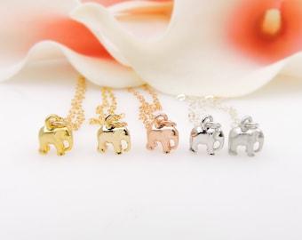 FREE US Ship Teeny Tiny Elephant Necklace Super Tiny Elephant Necklace Gold Or Silver Minimalist Elephant Necklace Layering Necklace