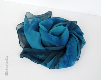 Hand dyed silk chiffon scarf, Teal artist silk scarf, Gray blue teal silk chiffon, Hand painted sheer scarf, Spring gift for her, Mom's gift