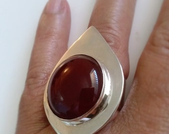Large Carnelian Silver Ring Handmade  Statement Ring  Red gemstone on Drop Silver,  Cocktail  and Fashion Accessory