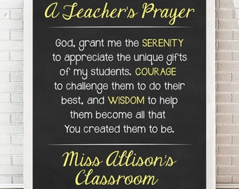 50% OFF / School is Outl/ You PRINT/ PRINTABLE A Teacher's Prayer / Chalkboard Personalized Teacher Gift