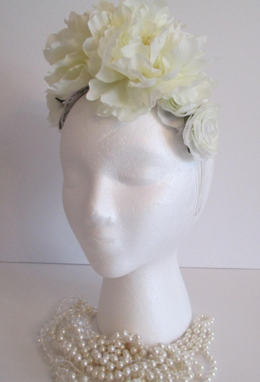 Wedding Flower Crown Suppliers : Flower crown wedding ivory flowers headband
