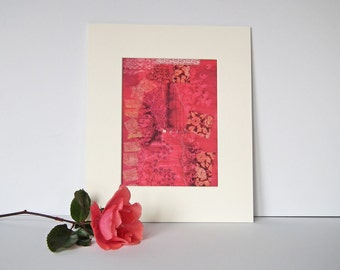 Textile Art Print, Mounted Print, 12 x 10, 'Secret Garden (detail)', Silk Art Picture