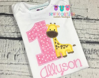 first birthday outfit girl - 1st Birthday Giraffe Girl Shirt - Giraffe Birthday Shirt - Girl Giraffe Birthday Outfit - Girl Birthday shirt