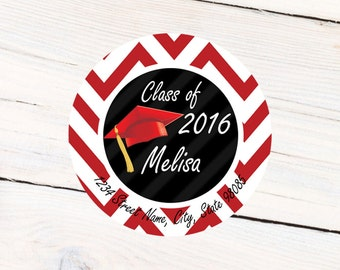 Graduation Red Personalized Stickers , High School, Address Labels Choose Your Colors, Custom School Colors Available