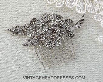 Vintage Marcasite Hair Comb, Marcasite Bridal Hair Comb, Vintage Wedding Hair Comb, Floral Comb, Marcasite Hair Accessory, Hair Adornment