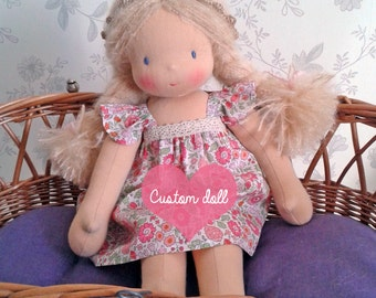 "Custom doll order - Made to order - Waldorf doll - 35cm / 14"" doll with a light peach skin colour, blonde, brown or red hair - Rag doll"