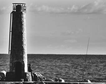 Beach Artwork and Decor, Lighthouse By The Sea, Black and White Fine Art Photography, Monochrome Beach Photography, Lighthouse Photograph