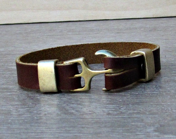 Anchor Mens Bracelet Mens Leather bracelet Cuff Vegetable Tanned Leather Bracelet Customized On Your Wrist