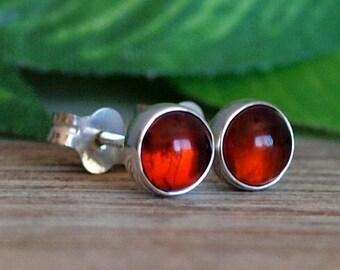 Amber Gemstone Stud Earrings, 5mm Amber Sterling Silver Earrings, Petite Amber Post Earrings, Handmade Amber Earrings, Amber Silver Studs