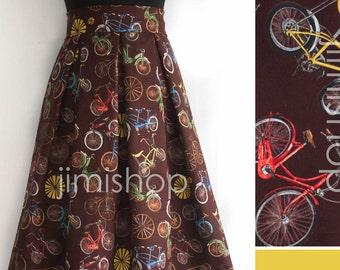 Bikes on brown skirt, maxi skirt, designer skirt, made to order