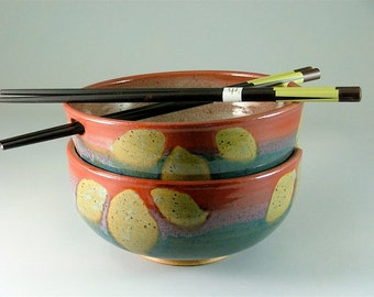 Pottery Rice Bowl Pair with Chopsticks - Glossy Red, Blue, with Green Leaves / Noodle Bowls