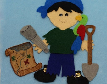 SHOP CLOSING SALE - Outfit For Felt Doll Boy Pirate Dress Up Set Doll Not Included
