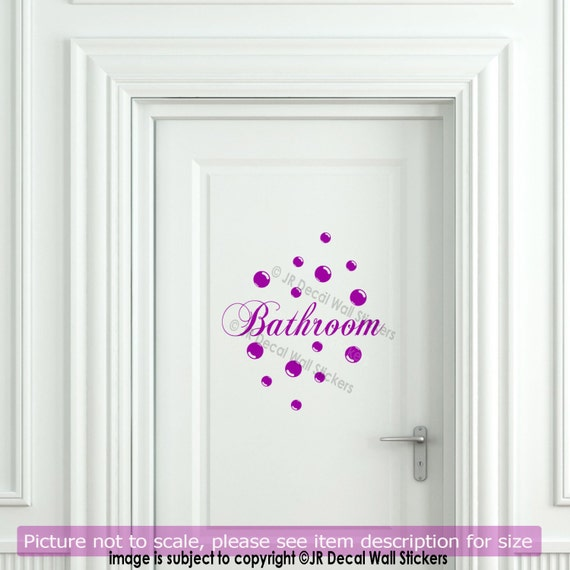 Bathroom Door Stickers : Bathroom door wall decal polka bubble dot vinyl sticker
