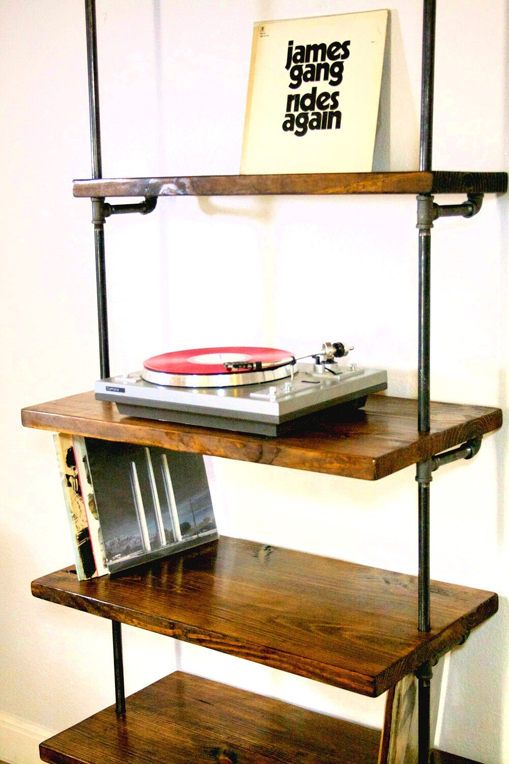 Industrial Vinyl Record Storage Shelf Unit Modern Bookcase