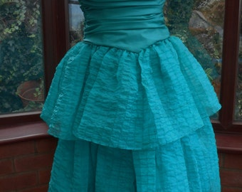 corset top boned with frilled skirt prom special occasion prom bridesmaid ballgown size uk-8-usa size-6