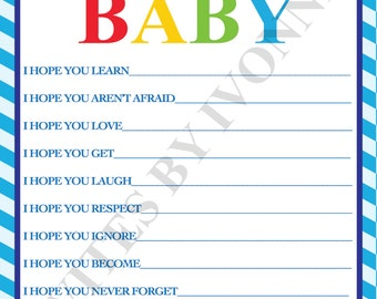 """Baby Shower Game Wishes for Baby  """"Cars, Planes, Trains, Trucks"""" Theme INSTANT DOWNLOAD Boy or Girl"""