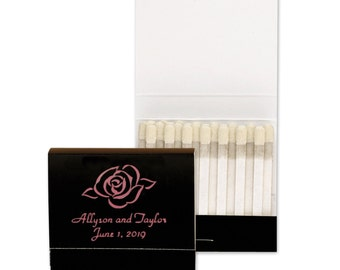 Custom Black Matchbook Favors | Personalized Black Matchbooks Foil Stamped Rose With Names And Date As shown