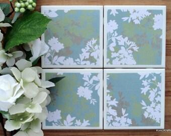 Ceramic Tile Coasters - Coaster Set - Table Coasters - Floral Coasters - Coaster - Tile Coaster - Coasters for Drinks - Coasters Tile
