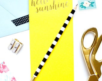 Hello Sunshine List Pad, Magnetic list pad, Gold Foil, To Do List, Grocery List, Stocking Stuffer, Notepad, Teacher Gift, TED040-LP