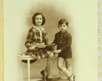 Vintage siblings, brother & sister French cabinet photo. Marseille 1930s photo