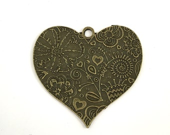 1 heart pendant bronze tone , 55mm# CH 269